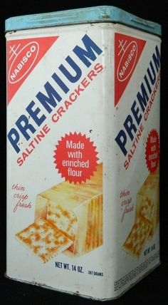 Just bought one today:) 14oz Nabisco Old Tin Can Box Saltine Crackers Premium Vintage Antique 1969 Metal