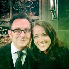 "Behind scene photo of Michael Emerson as Harold Finch and Amy Acker as Samantha ""Root "" Groves on Person of Interest."
