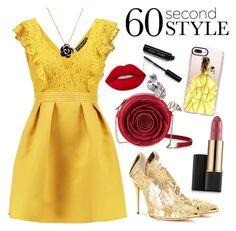 """60 Second Style: Belle"" by trendsetter12 ❤ liked on Polyvore featuring Oscar de la Renta, Bobbi Brown Cosmetics, Casetify, Estée Lauder and Lime Crime"