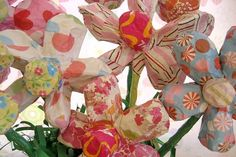 These are so cheerful. Paper Mache Flowers Made To Order  Size Medium by MaiseysDaiseys,