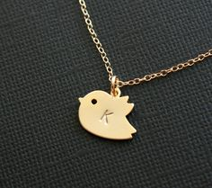 Cute little bird charm personalized with your choice of initial or number. This can be made with 14K gold filled chain or 14K gold plated chain. So