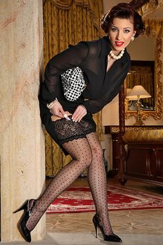 Vintage Dot Lacetop -  Our Vintage Dot Stockings (sometimes called Swiss Dot) are the only ones in the World made of 100% non-stretch nylon with a Reinforced Heel and Toe - Vintage in every sense of the word. Style 9910L $32.99