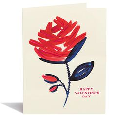 Valentine Rose – Snow & Graham Valentines Watercolor, Watercolor Cards, Pictures To Paint, Painting Pictures, Valentine's Day Greeting Cards, Stationery Store, Happy Valentines Day, Blue Flowers, Graham