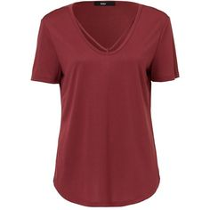 LUXE V STRAP TEE ($31) ❤ liked on Polyvore featuring tops, t-shirts, v neck tops, red t shirt, short sleeve t shirts, v neck tee and v-neck tee