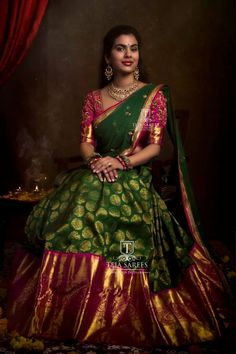 Sampradaya - 054.Keeping traditions alive.. Available . Stunning green and pink color combination pattu lehenga and blouse with net dupatta. Blouse with hand embroidery work. For orders/queries Call/ whats app on8341382382 orMail  tejasarees@yahoo.com.In Frame Sravana Bhargavi.Photographed by Jimmy Nomula Photography for Fotosaints.JC: M Bajranglal Jewellers .Contact for jewellery ( 9908390000) 29 January 2019