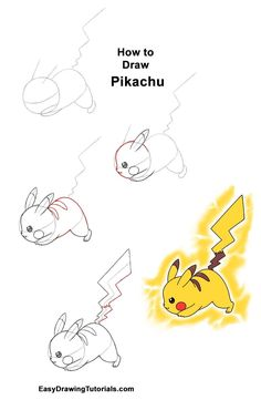 Learn how to draw Pikachu from Pokemon in an attack pose with this step-by-step tutorial and video. New drawing tutorials are uploaded frequently, so stay tooned! Pikachu Drawing Easy, Easy Pokemon Drawings, Pokemon Sketch, Pikachu Art, Cute Easy Drawings, Cartoon Drawings, Animal Drawings, How To Draw Pokemon, Disney Drawings