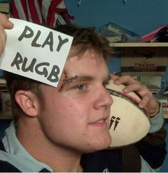 """Some serious stitches """"Play Rugby"""" Citation Rugby, Rugby Rules, Rugby Gear, Rugby Sport, Rugby Funny, International Rugby, Cheap Clothes Online, All Blacks, Rugby World Cup"""