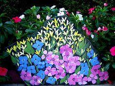 Hand Painted Flower & Fairy Rocks : Hand-Painted Wildflower Garden Rocks