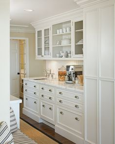 butler's pantry w/chicken wire doors; open shelving; beadboard backsplash