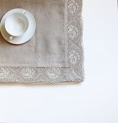 LINEN table cloth linen LACE square gray linen by LinenWoolRainbow