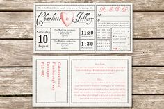 Antique ticket vintage wedding invitation