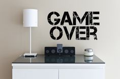 Wall Vinyl Sticker Decals Mural Room Design Pattern Art Game Over Quote Words bo1985 by RoomDecalsAndDesigns on Etsy