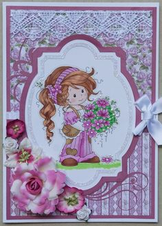 Challenge 9A 2016: Pinterest inspiration: Wee Stamps digi stamp, called Ruby; added Liquid Pearls; frame and swirls cut on the Cameo; assorted flowers (Prima; Petaloo); strip of lace; Paper from the Heartfelt Creations Cut Mat Create collection