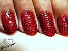 Hot red with black lace