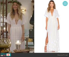 Phoebe's white plunge-neck maxi dress on Girlfriends Guide to Divorce.  Outfit Details: https://wornontv.net/64216/ #GG2D