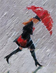 Walk On - red umbrella rain painting - Original Fine Art for Sale - © Gina Brown