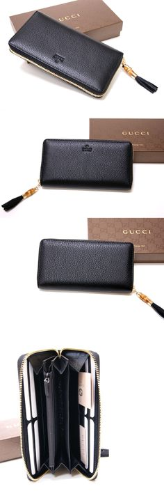 Wallets 45258: New Authentic Gucci Soho Black Leather Zip Around Bamboo Tassel Wallet Clutch -> BUY IT NOW ONLY: $285 on eBay!