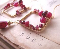 RUBY TUESDAY earrings with ruby, garnet, and sapphire $64  #etsyfollow #jewelry @Shadow