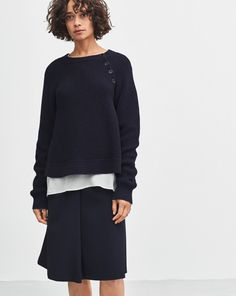 Cotton Mix Slit Pullover Navy - Filippa K