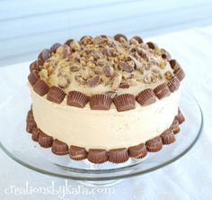 Reese's Peanut Butter Cake. The peanut butter frosting can be eaten by the spoonful-so yummy! Click through for recipe!