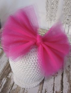 Over the Top Pink Tulle Bow Headband, Baby Headband, Child Headband, Flower Girl Headband, Perfect Photo Prop