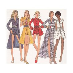 """70s Mini Midi or Maxi Dress with Hot Pants Uncut Butterick 6245 Bust 32"""" Vintage Sewing Pattern Shorts with Optional Cuffs"""