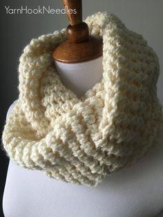 Chunky Crochet Scarf Infinity Scarf Crochet by YarnHookNeedles