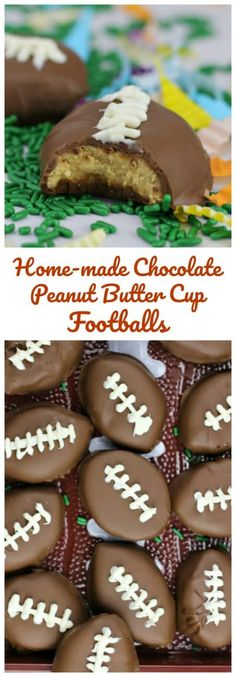 Home-made Chocolate Peanut Butter Cup Footballs!  These footballs will be kicking it at your Superbowl Party!  Reese's Peanut Butter Cup copy-cat recipe!  Yum!!!   #superbowl #reeses #peanutbutter #footballs #chocolate