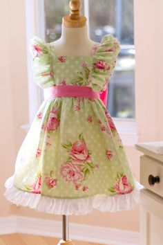 Girls Infant Toddler Easter Lily Dress   Size 15 by KinderKouture, $68.00
