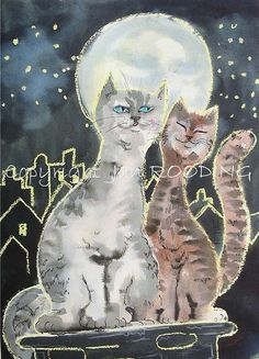 06 - two cats in the moonlight by Loïc Tasquier, via Flickr