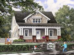 typical Craftsman-style home and front porch familyhomeplan.com number 86121