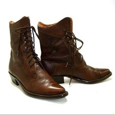 Etsy mysweetiepiepie VINTAGE 1980 s Western Military Ankle BOOTS Brown Leather Pointy Toe Reptile Texture Lace Up Stacked Undershot Heel Cowgirl Style by Nine West Made in Brazil Siz - Stylehive