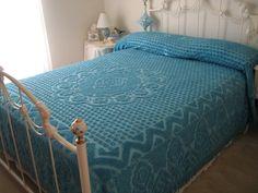 chenille bedspread blue beautiful floral design - Chenille Bedspreads