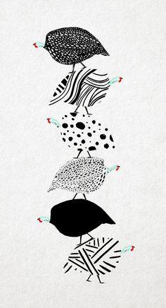 Beautiful guinea fowl design art and design pinterest for Balancing bird template