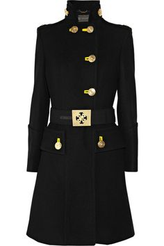 Versace military coat: black wool, funnel neck, buttoned epaulets, long sleeves, concealed front welt pockets with branded gold buttons, contrast bright-yellow button holes, detachable designer-embossed belt, fully lined. Designer-embossed gold button fastenings at double-breasted front. 100% wool; lining: 100% silk. Dry clean.