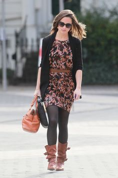 Pippa Middleton pink and brown printed dress brown leather purse black tighets black slouchy boots black cardigan