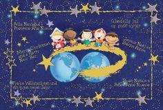 Julekort uden støtte. Motiv: Jordkloden, børn, julenat, stjerner, firmajulekort, firma julekort, erhvervsjulekort, julekort til erhverv, julekort med logo, julekort, velgørenhedsjulekort, julekort med tryk