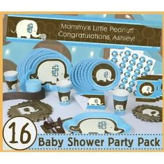 Blue Baby Elephant - 16 Baby Shower Party Pack