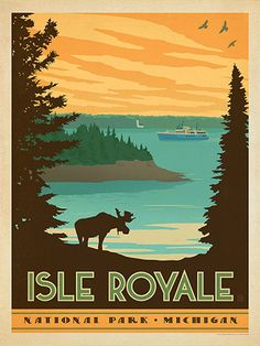 Isle Royale National Park - After working for more than 5 years, our National Parks series is finally complete! Each print celebrates the unique wilderness and wonder of America's 59 different National Parks. It's our way of celebrating the upcoming 100th Anniversary of the National Parks Service. (Happy Centennial, NPS!) You won't find such a beautiful or comprehensive collection of American National Park prints anywhere but here! Printed on gallery-grade paper, this desig...