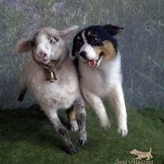 Felted sheep and dog Aussie breed dog named Kasya