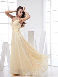 V-Neck Spaghetti Chiffon Summer Prom Dress - Milanoo.com