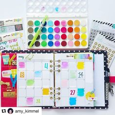 @amy_kimmel does not shy away from color. Check her account if you'd like to see how to use #watercolor in your #planner or #journal. #Repost @amy_kimmel (via @repostapp) ・・・ Ya'll...I may have finally found planner peace with my pink #simplestories #carp