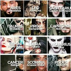 Horoscopes: Suicide Squad Edition.  Caps: Rick Flag. Aww I prefer Harley Quinn since I am a girl. :(