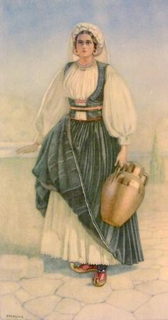 Peasant Woman's Costume (Ionian Islands, N. Greek Traditional Dress, Traditional Fashion, Greece Costume, Ancient Greek Costumes, Greek Dancing, Greek Dress, Greek Royalty, Greek Culture, Greek Art