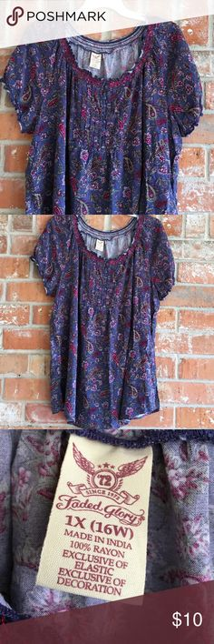 "Cute Pheasant Style Top Plus Size 1X This top is so cute and comfy. It's in GUC. No rips stains or tears. It measures 23"" underarm to underarm and is 29"" long. Faded Glory Tops Blouses"