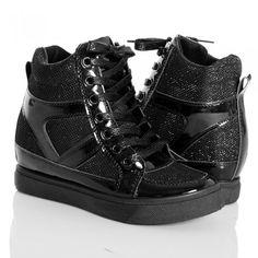 Sneakersy - Czarne Brokatowe Trampki Na Koturnie #czarne #buty #na #jesień #shoes #black #style #fashion
