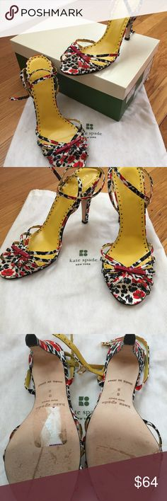 Gorgeous Kate Spade Ankle Wrap Sandals This is a beautiful pair of floral ankle wrap shoes, worn once, and with only minor wear on soles.  Perfect with a little yellow dress ( or black or red dress) for spring and summer.  Gently stored in original dust bag and box. Kate Spade Shoes Heels