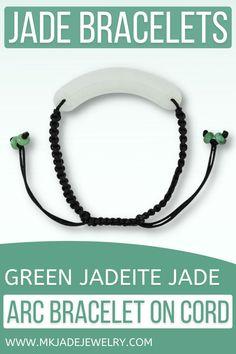 Green jade cylinder arc center piece set on an adjustable black silky cord bracelet. Use discount code INSTA10JORDAN at checkout! Jade Bracelet, Cord Bracelets, Jade Green, Bracelet Patterns, Unique Gifts, Handmade Jewelry, Jewelry Design, Personalized Items, Gemstones