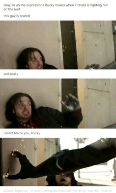 OMG Bucky's expression in the last frame is fucking hilarious. Look at his mouth lol