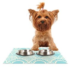 """Kess InHouse Suzie Tremel """"Heathered Scales"""" Pet Bowl Placemat for Dog and Cat Feeding Mat, 18 by 13-Inch, Blue/Tan * Check out this great article."""